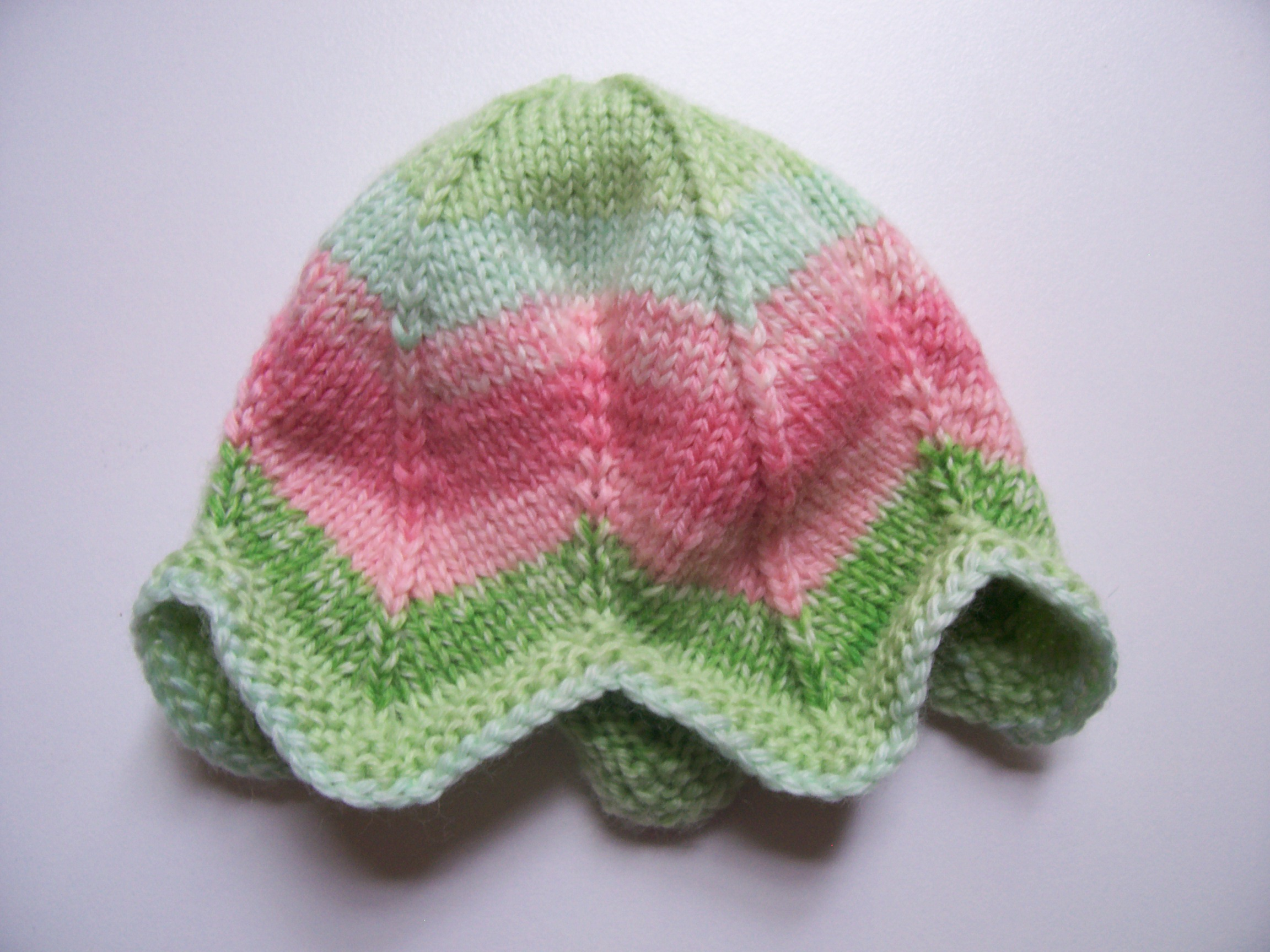 "Tulip Preemie Hat, knit in Knit Picks Felici Sport in ""Watermelon"""