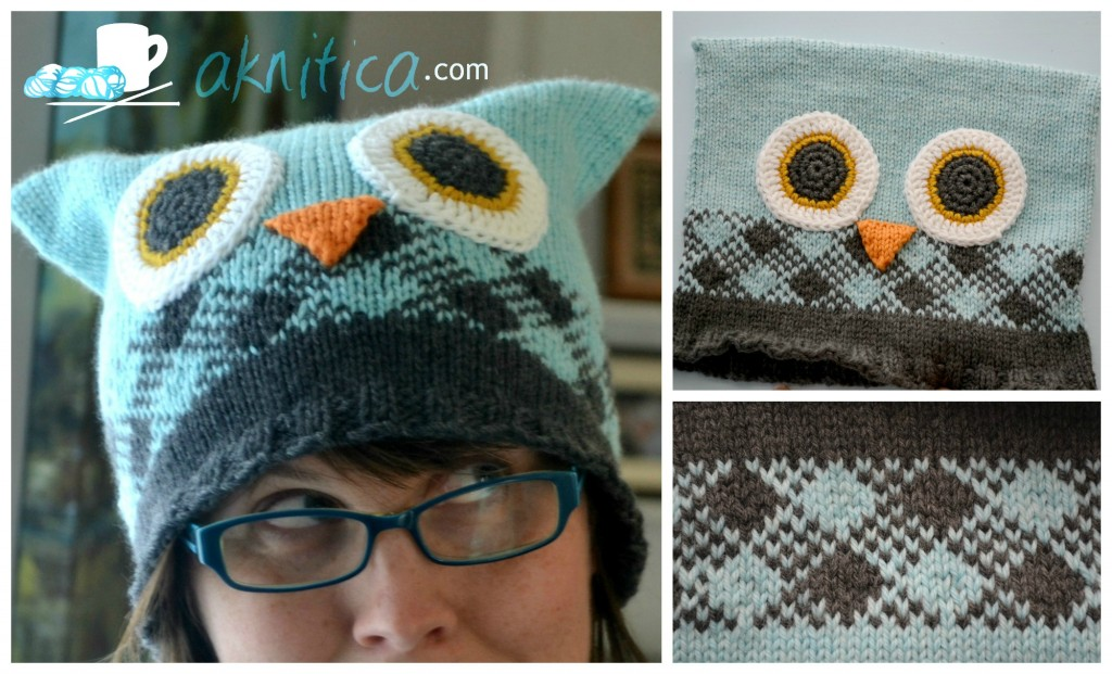 Owl hat with plaid collageb