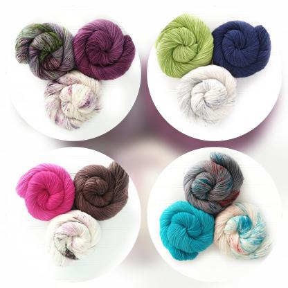 Mosaica yarn kits by Log House Cottage Yarns